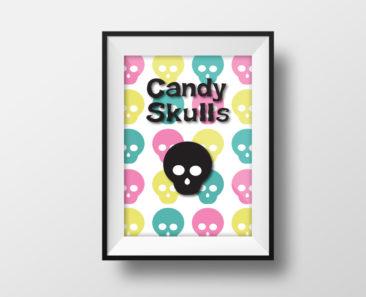 Candy Skulls Wall Poster